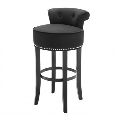 Stołek barowy Sophia Loren Black cashmere | black legs | nickel nails / 106191U