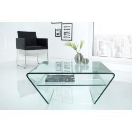 Stolik kawowy FANTOME szklany  trapezowy 70 cm szer. półka / 39054