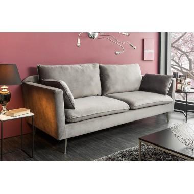 Sofa FAMOUS 3 osobowa 210cm srebrnoszary aksamit / 39023